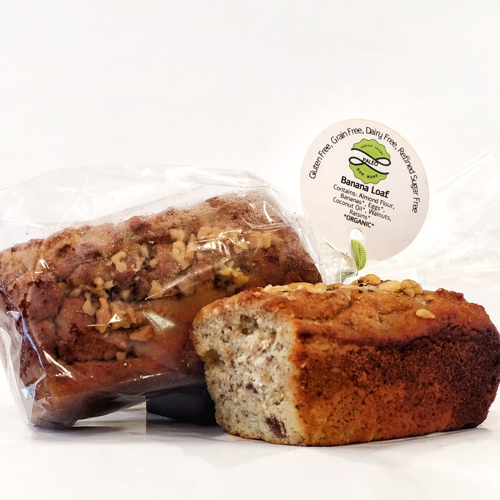 Almond Banana Loaf — Paelo OR Vegan    Ingredients: Almond Flour, Bananas, Eggs, Coconut Oil, Walnuts, Raisins