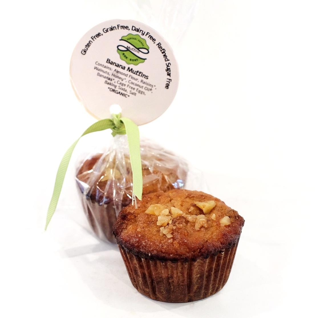 Almond Banana Muffins   Ingredients: Almond Flour, Raisins, Walnuts, Honey, Coconut Oil, Bananas, Cage Free Eggs, Baking Soda, Salt