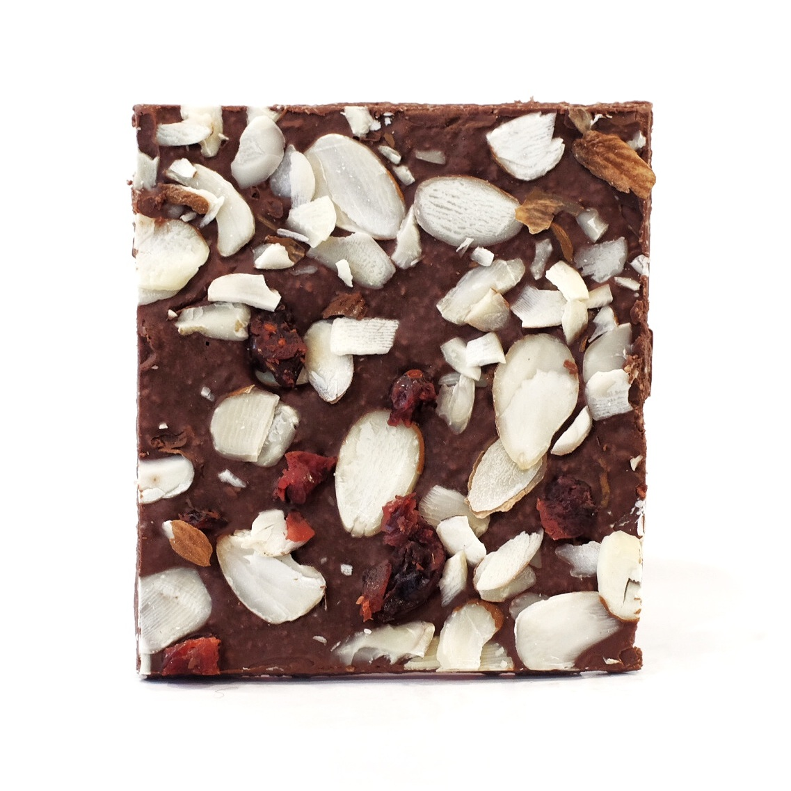 Chocolate Bark   Ingredients: Chocolate, Coconut Powder, Coconut Oil, Almonds, Cranberry, Cocoa Powder