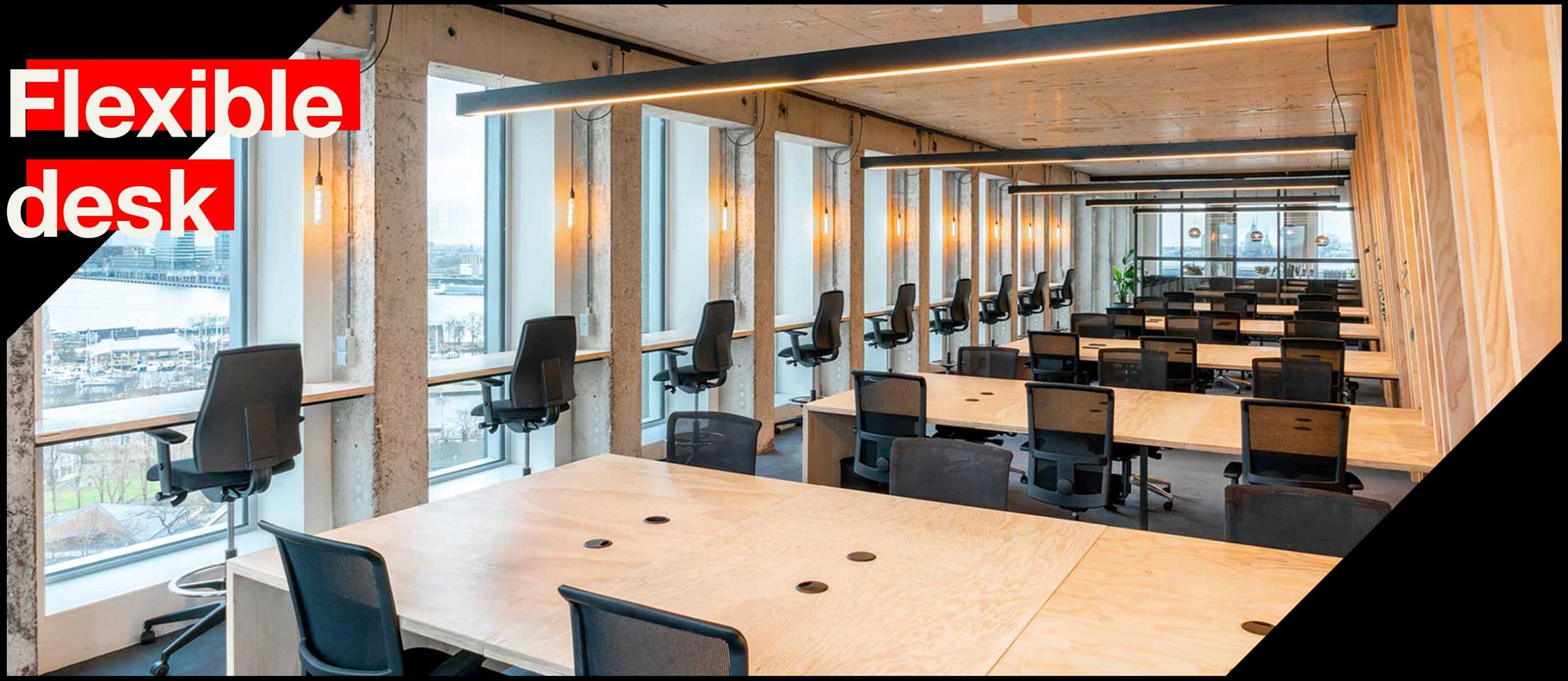 The flexibility to work wherever you want. - The Flexible desks mainly consist of workplaces with a direct view over Amsterdam. As a member you can move freely on the 10th,13th & 14th floors, & you are not bound by a fixed workplace. The costs for this membership are € 250, - per month (excluding VAT).