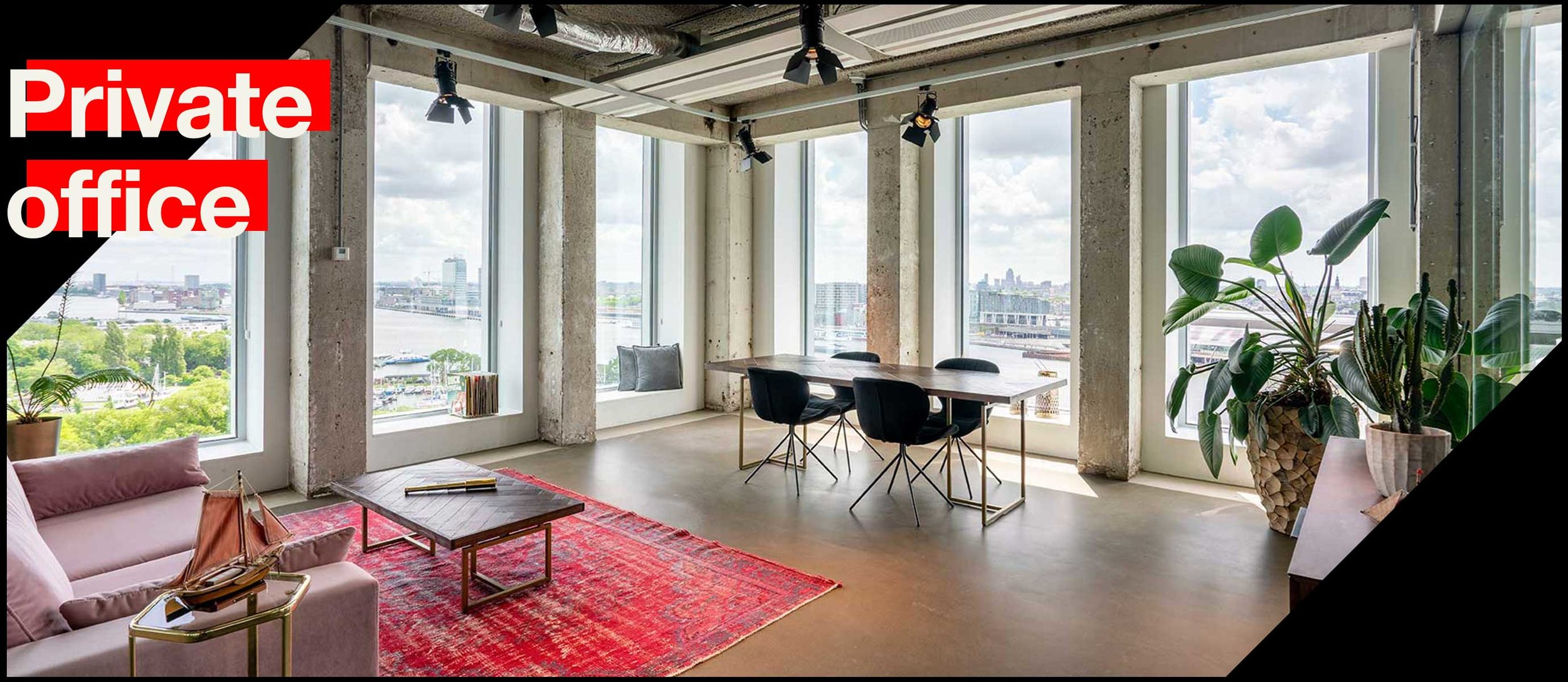 Office space for you & your colleagues. - The Private offices as part of A'DAM & Co.work are located on the 10th, 13th & 14th floor of the A'DAM Tower. These office spaces vary in size & location, & offer space for 6 to 12 people. Are you looking for a permanent office for yourself & colleagues? Then a Private office might be something for you. The costs for this membership start at € 2,500 per month (excluding VAT).