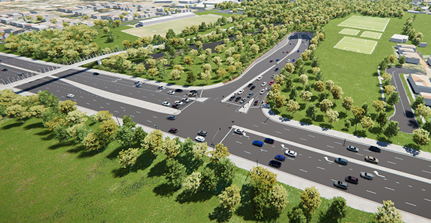 Artists impression of the exit junction on President Ave, Kogarah