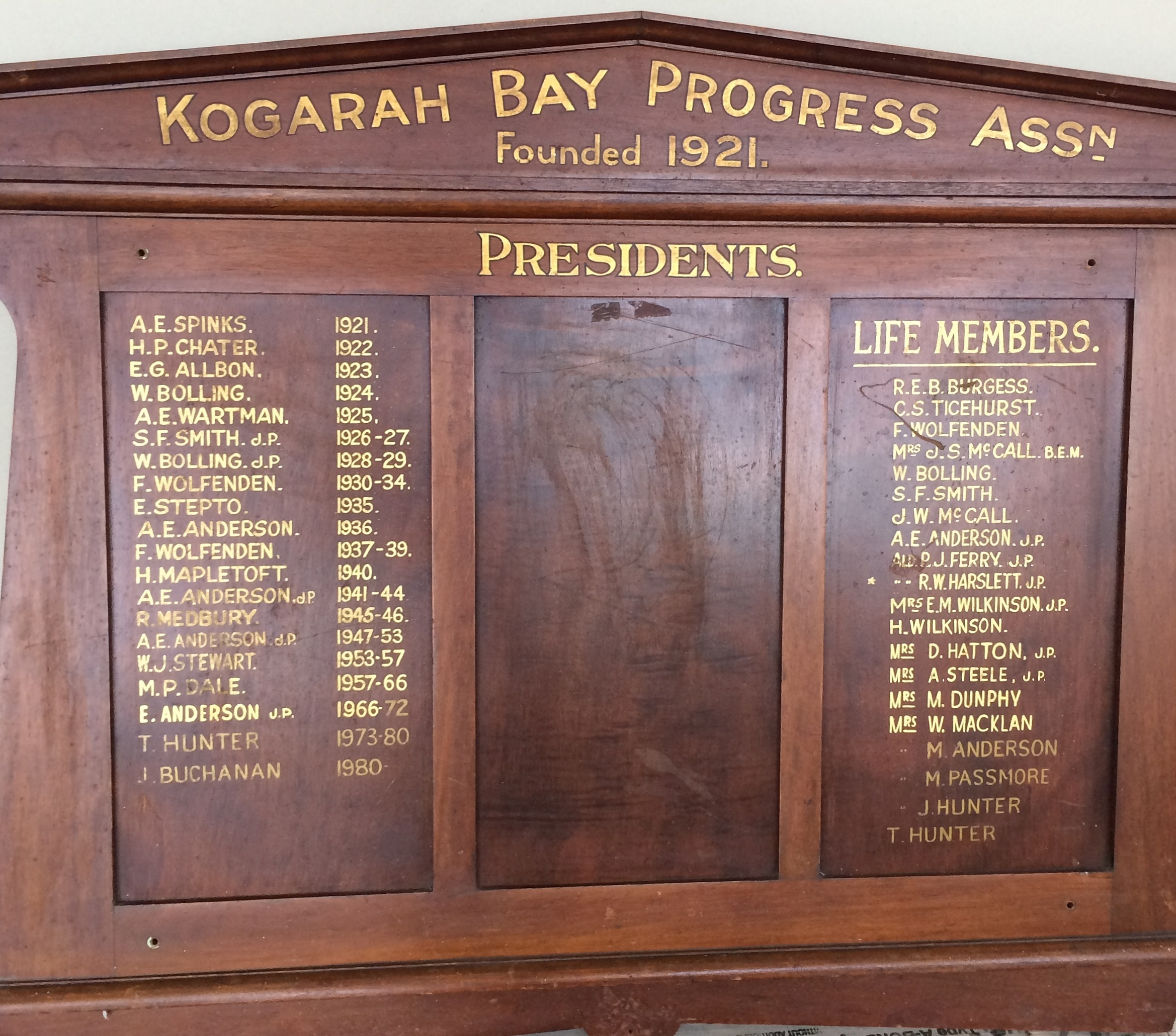Kogarah Bay Progress Association Honour Board