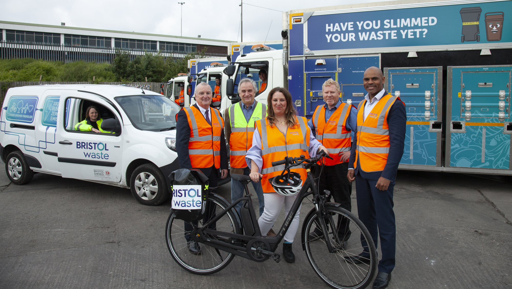 Bristol Waste Recycling Vehicle Launch 2019 Tony Lawless Steve Pearce Emma Russell Iain Fortune Marvin Rees.jpg