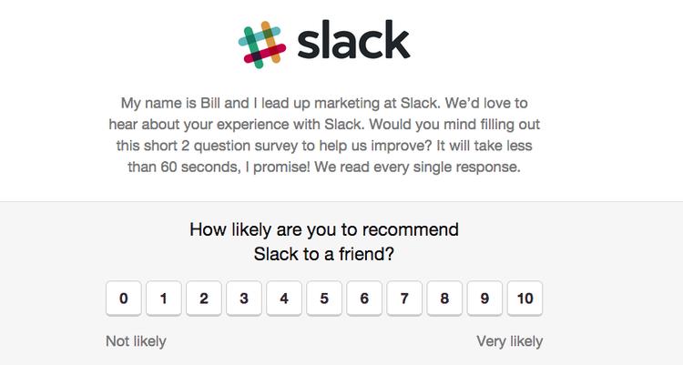 Slack mäter kundlojalitet med Net Promoter Score