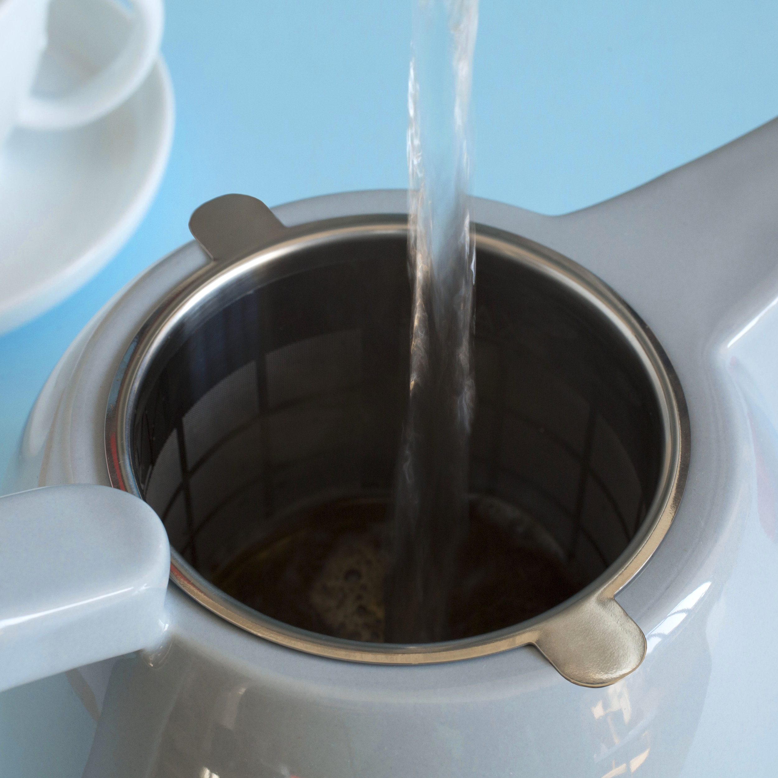 Pour over the water, making sure all the tea is covered by the water -