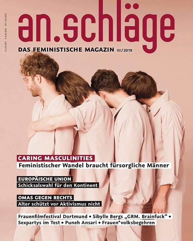 We're honoured to be on the cover of the awesome @an.schlaege magazine. This issue's main focus is on caring masculinities, so be sure to grab a copy. 💟 . . . photo by @liebentritt.photo produced by @apesframed outfits by @ferrarizoechling hair & make up by @hannastantejsky