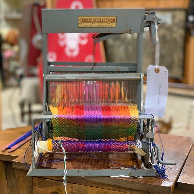 """Oh hai! It's been a bit- but I just had to share this """"should've bought it"""" vintage #structoloom machine I spotted at an antique shop. How awesome is this thing?"""