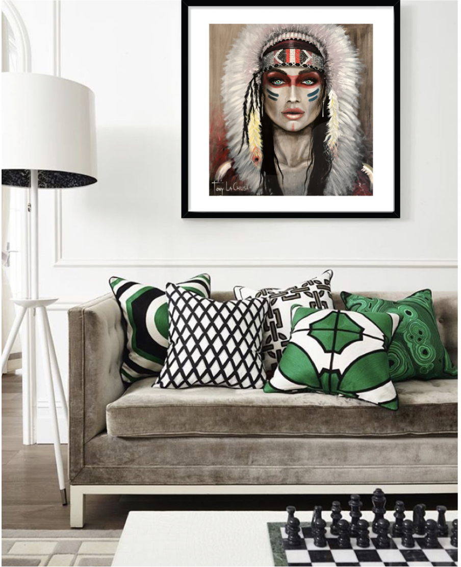 Tribal Thoughts Framed Print 70cm x 70cm in your choice of Black, White or Oak frame from $880