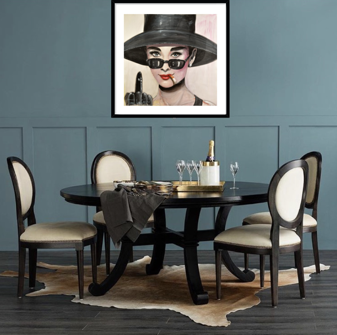 Cheeky Audrey Hepburn Framed Print 70cm x 70cm in your choice of Black, White or Oak frame from $880