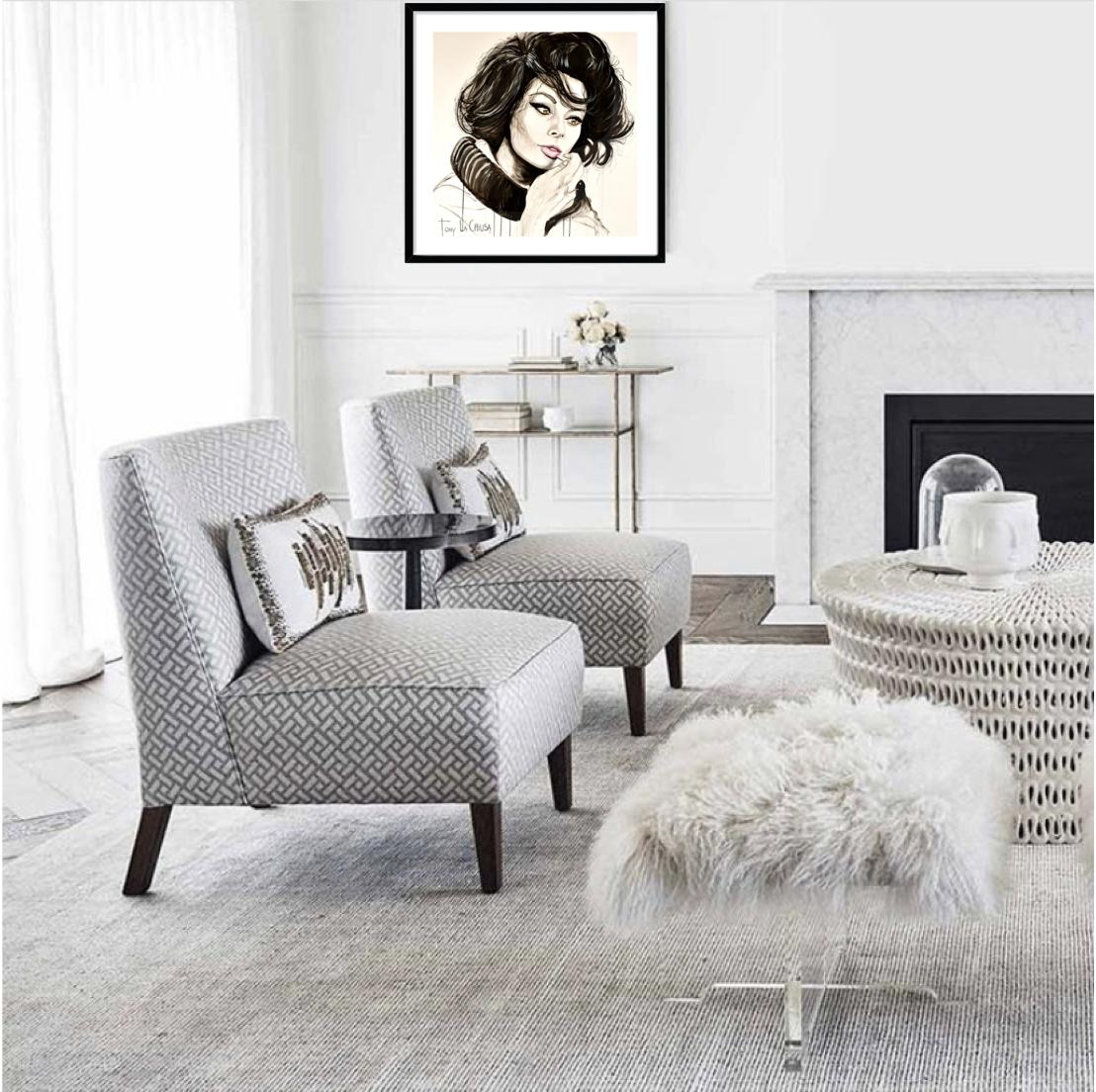 Sophia Loren Framed Print 70cm x 70cm in your choice of Black, White or Oak frame from $880