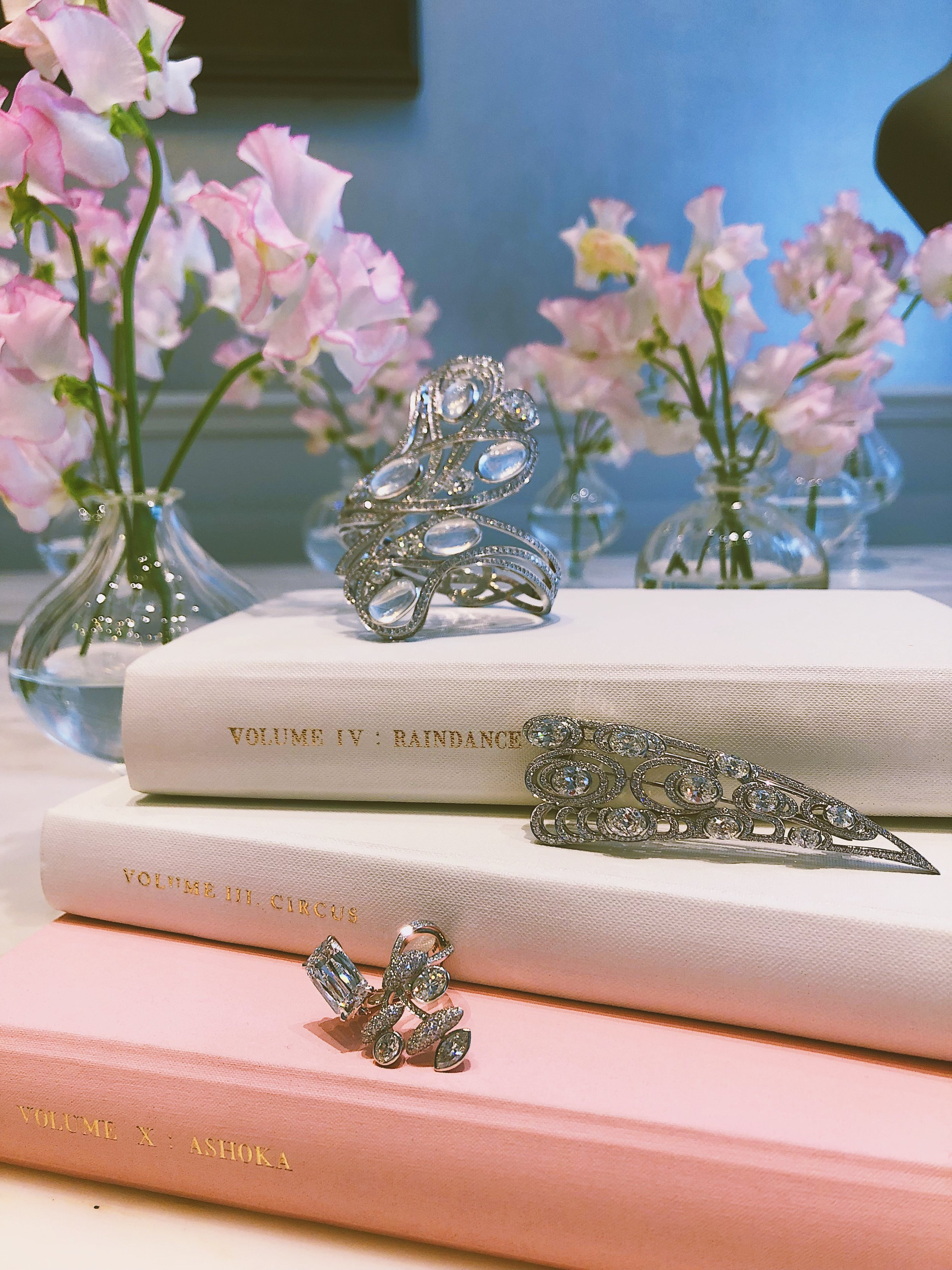 The Ice Skaters Cuff, Skimming Stones brooch and The Cloud Trees ring,