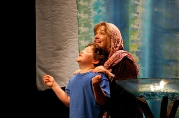 Dramatic presentation of the Hagar and Ishmael story from Genesis 21 at Lakes and Prairies Synod School in 2011 with Heather Anderson and Asa Stanfield.  —phote, Simon Levin