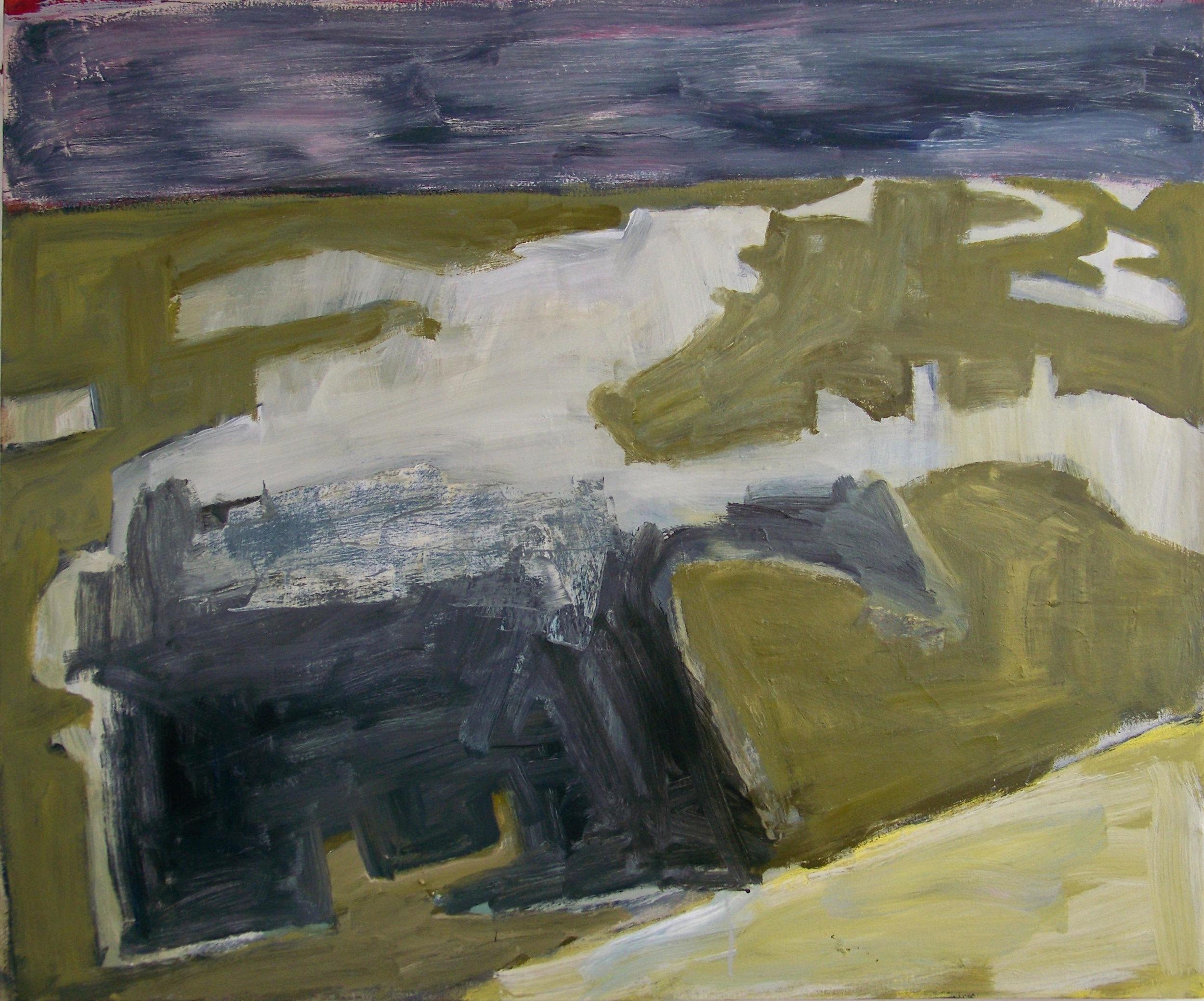 Sluice at High Tide , 2017. Acrylic on canvas, 100 x 120 cm