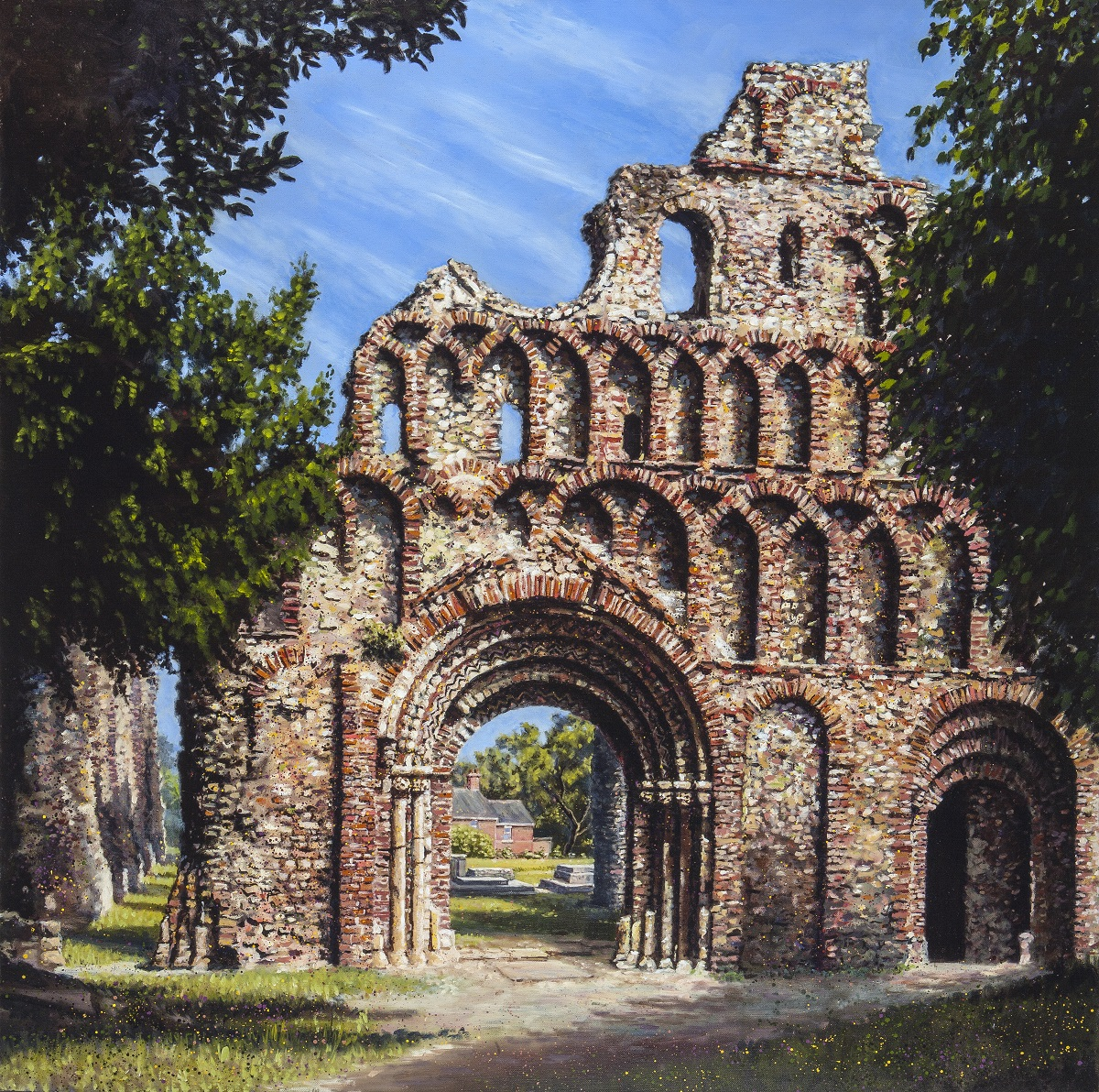 The Priory,  Oil on linen, 40 x 40 in, For sale