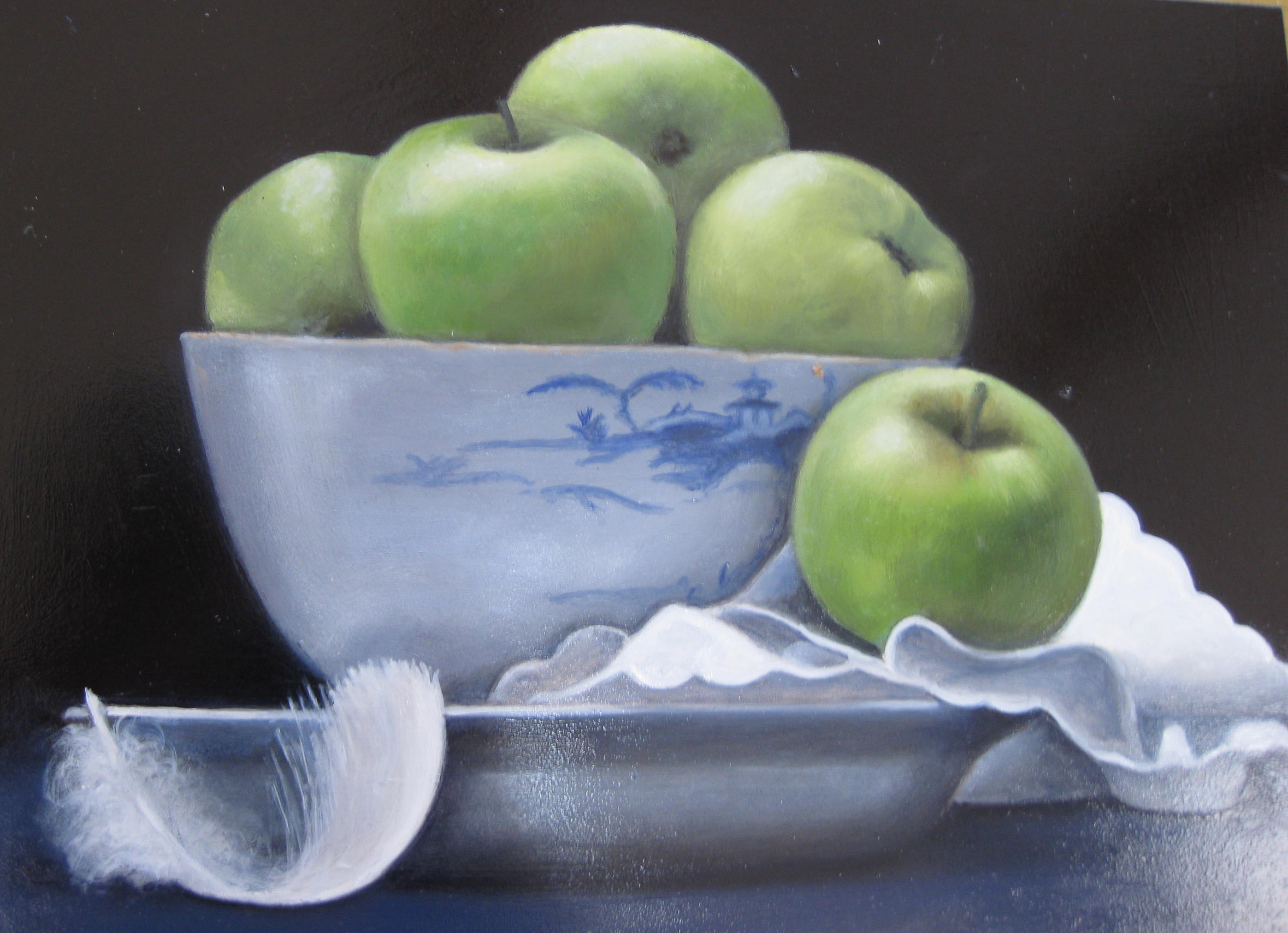 Green Apples in Blue Delft Bowl , Oil on board, 30 x 41 cm