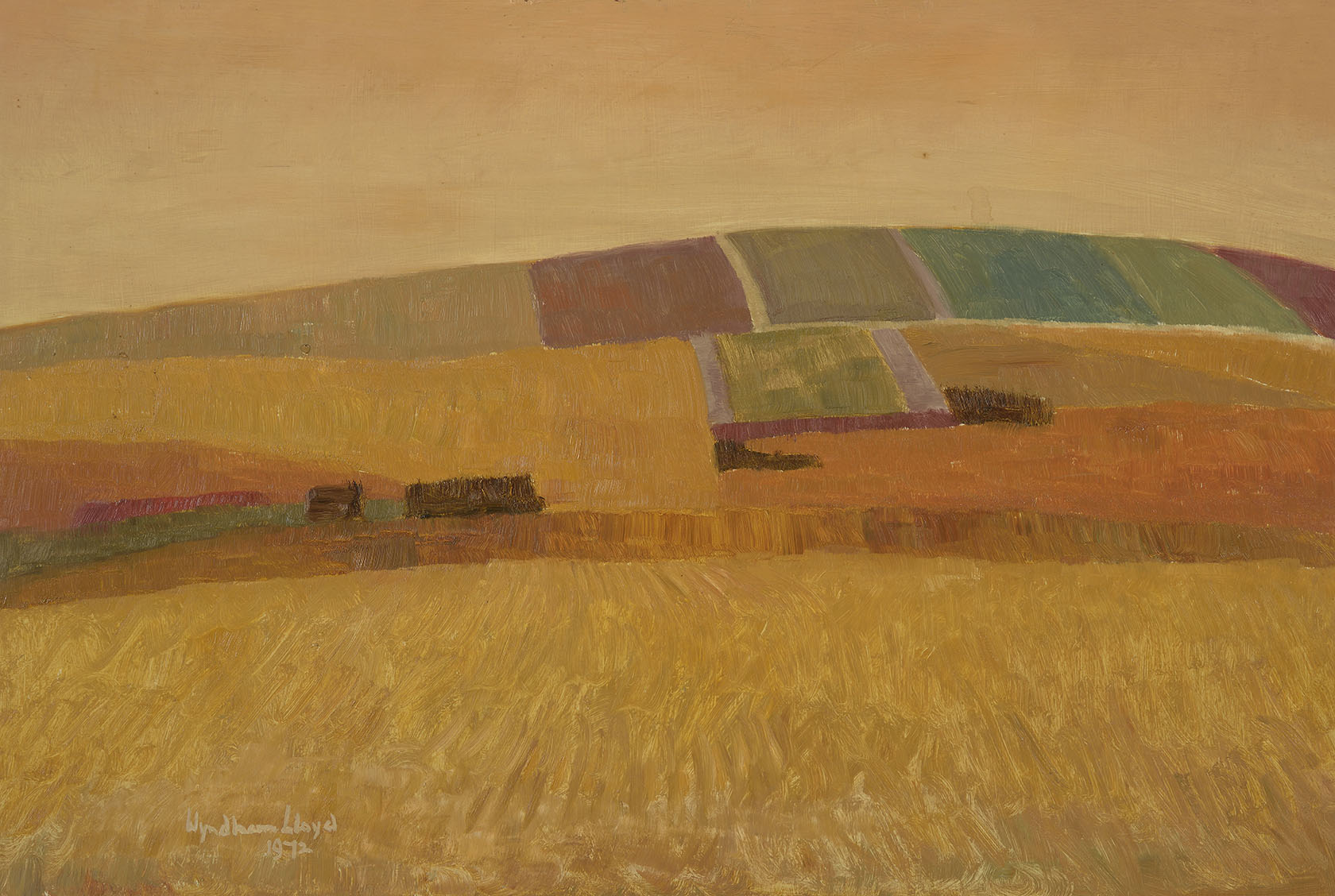Wyndham Lloyd (1909-1997)    Pattern of Fields,  1972, Oil on board, 21 x 30 ¼ in, Signed and dated  [CAS 22] Acquired in 1973