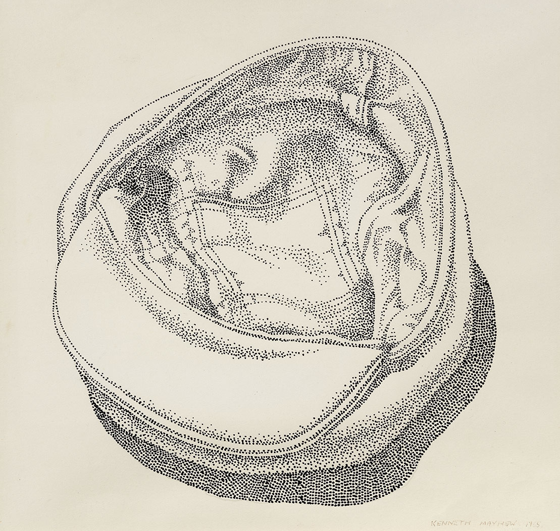 Kenneth Mayhew (1942-2014)    Cloth Cap,  1965, Pencil on paper (point technique), 8 ½ x 9 in, Signed and dated  [CAS 28] Acquired in 1973