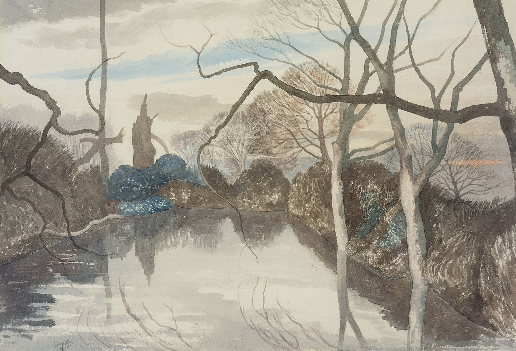John Northcote Nash CBE, RA (1893-1977)    February Evening, Glemham, Suffolk,  1958, Watercolour on paper, 15 x 22 in, Signed and dated  [CAS 1]