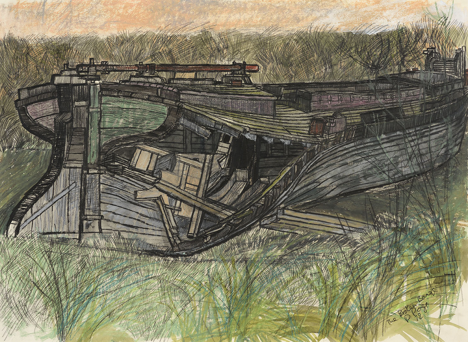 Dione Page RWA, (b. 1936)    The Broken Barge,  1972, Watercolour and graphite on paper, 21 ¼ x 29 ½ in, Signed  [CAS 21] Acquired in 1973