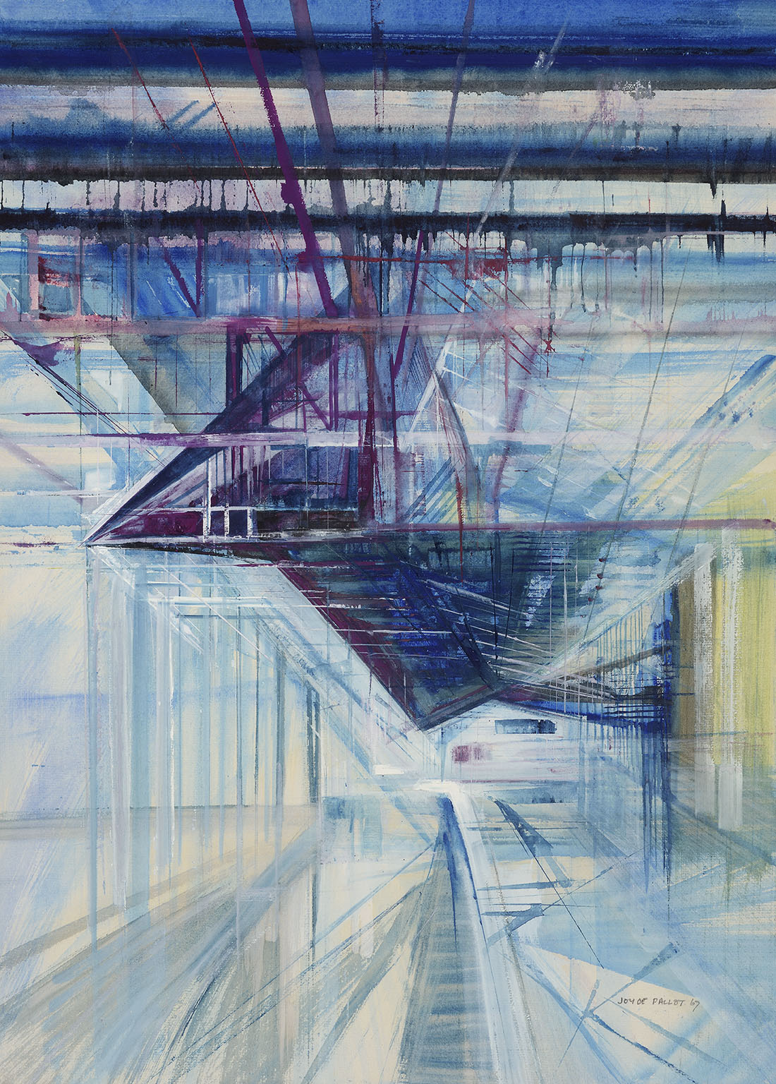 Joyce Pallot (1912-2004)  Station Roof, 1967, Gouache on paper laid on board, 24 ¼ x 17 1/2 in, Signed and dated  [CAS 9] Acquired in 1967
