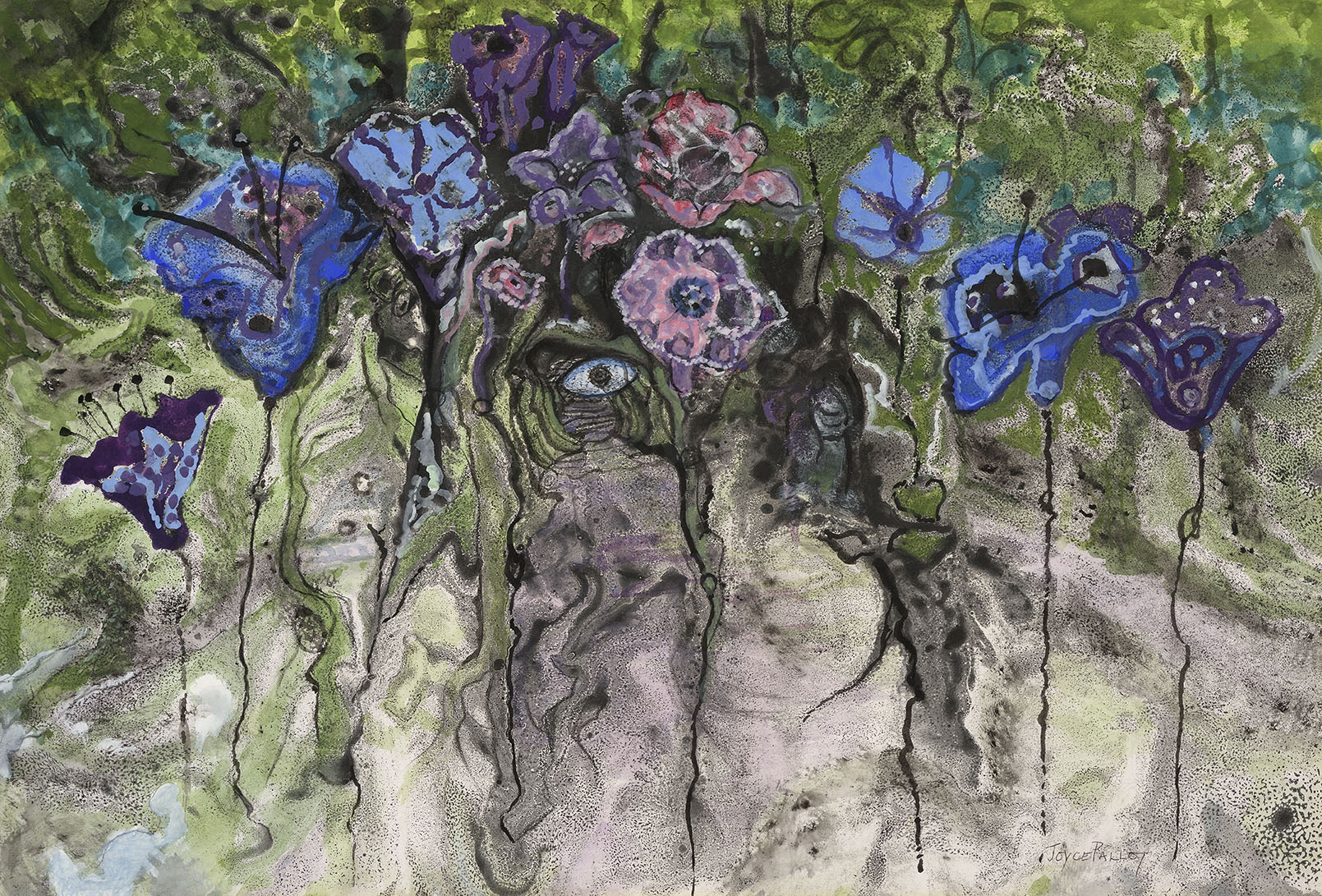 Joyce Pallot (1912-2004)  Floating Flowers, Mixed media on paper, 19 ¼ x 29 in, Signed  [CAS 50] Acquired in the early 1990s