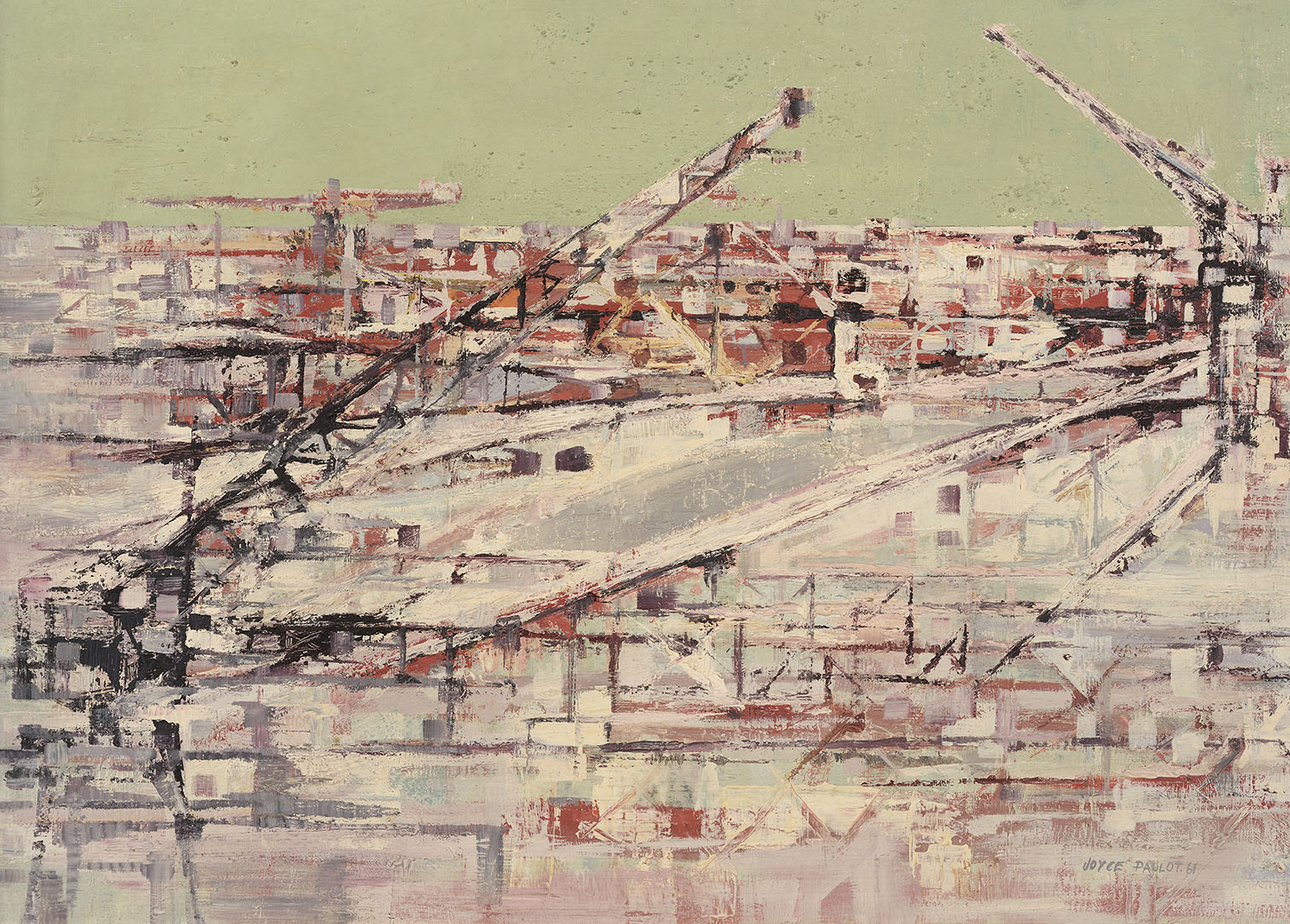 Joyce Pallot (1912-2004)  Building Site by River, 1961, Oil on board, 24 x 34 in, Signed and dated  [CAS 59]