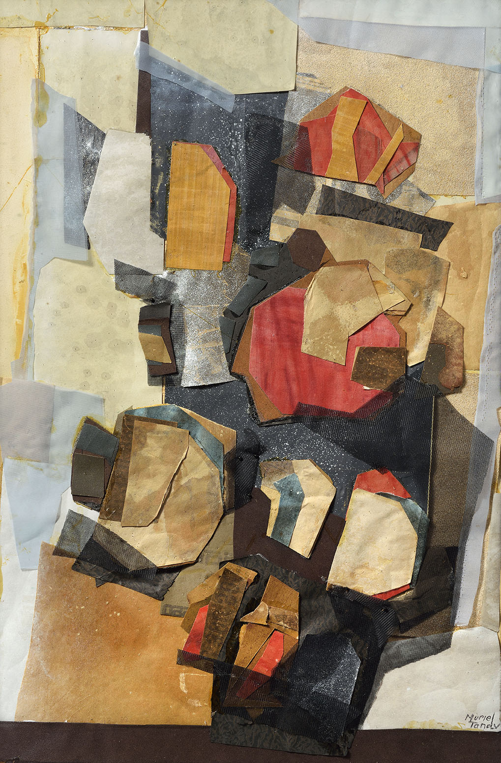 Muriel Tandy    Plant in the Window,  Collage or Papier Collé, 26 ½ x 17 ½ in, Signed  [CAS 27] Acquired in 1973 as No 93