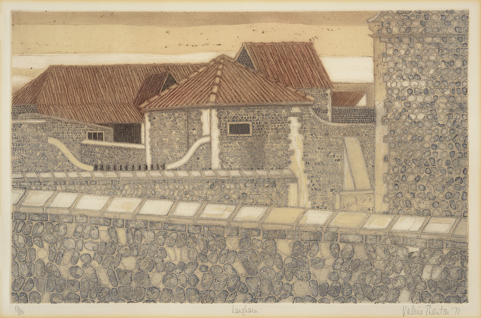 Valerie Thornton NDD, RE (1931-1991)    Langham,  1971, Colour etching on paper, 15 ½ x 24 in, Signed and dated, Edition number: 12/35  [CAS 17]