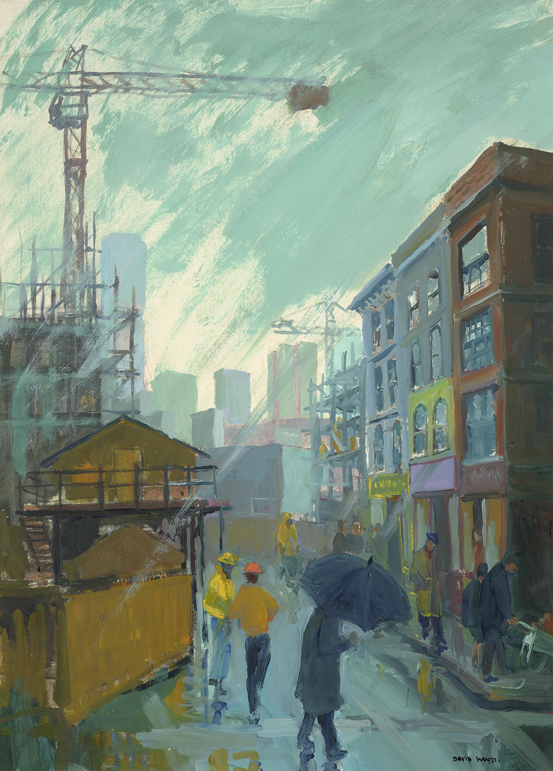 David Wood (1933-1996)    The Encroaching City,  c.1987, Oil on board, 32 x 25 in, Signed  [CAS 47]