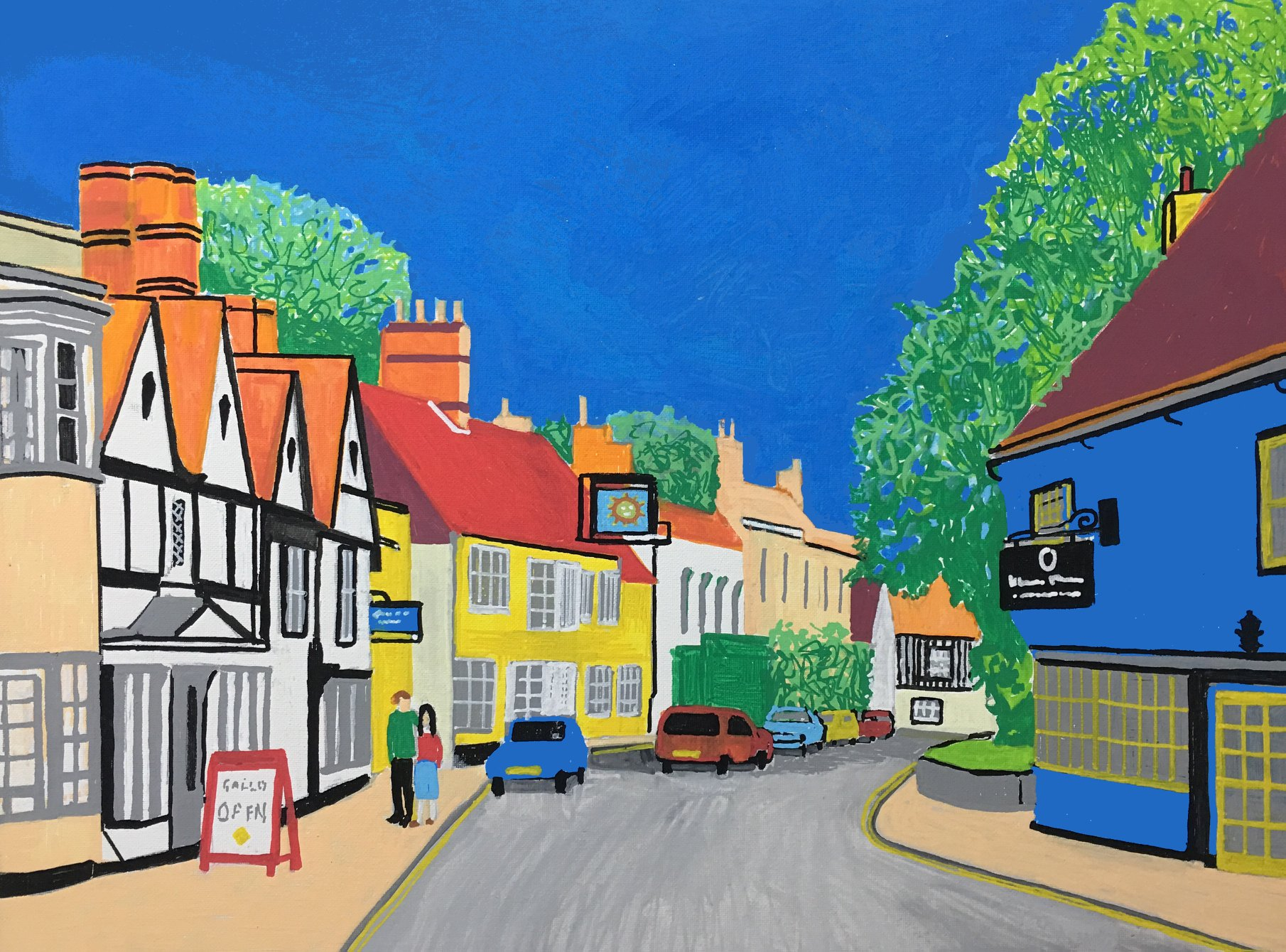 Dedham High Street,  Acrylic Ink