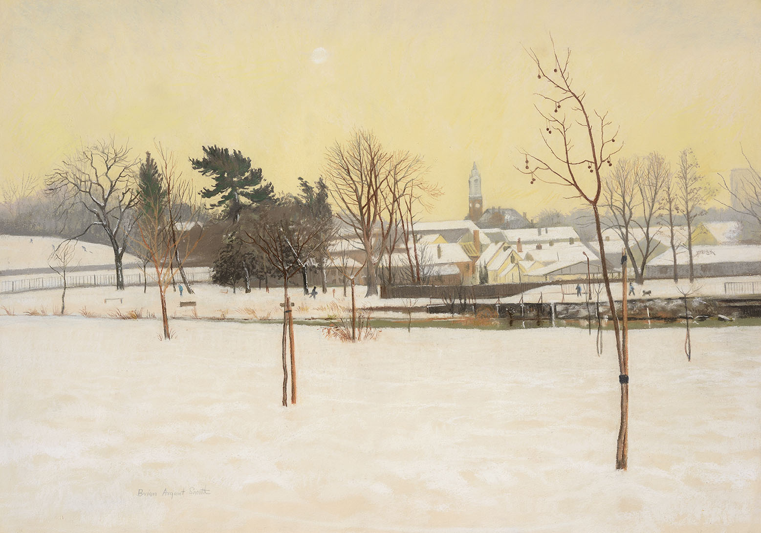 Brian Argent Smith (b.1937)    Snowfall, Colchester,  Watercolour on paper, 21 ½ x 30 ¾ in, Signed  [CAS 48] Acquired in 1980