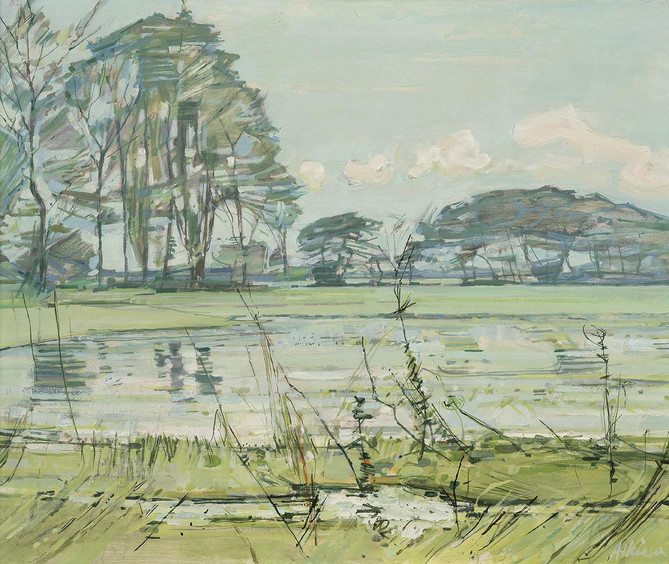 Anthony Atkinson ARCA (1929-2014)    Floods at Boxted,  c. 1966, Oil on canvas, 30 x 24 in  [CAS 10] Acquired in 1966