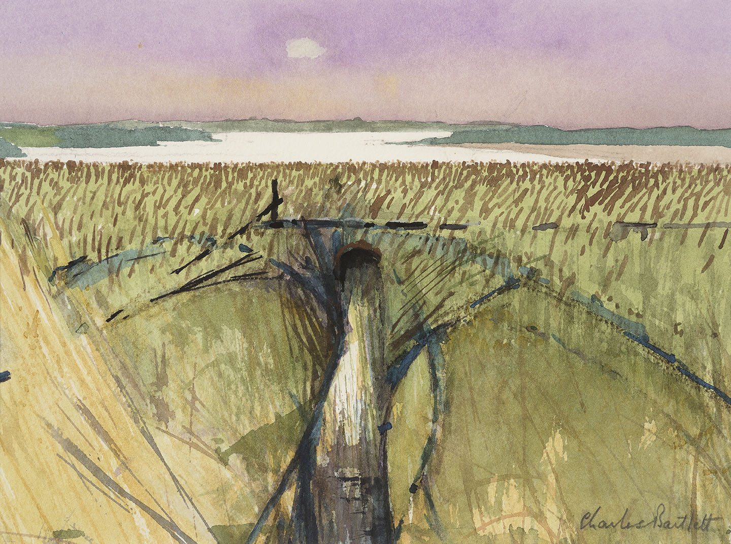 Charles Bartlett RWS, RE, ARCA (1921-2014)    Suffolk Reeds,  2007, Watercolour on paper, 10 x 13 ½ in, Signed  [CAS 63] Acquired in 2009