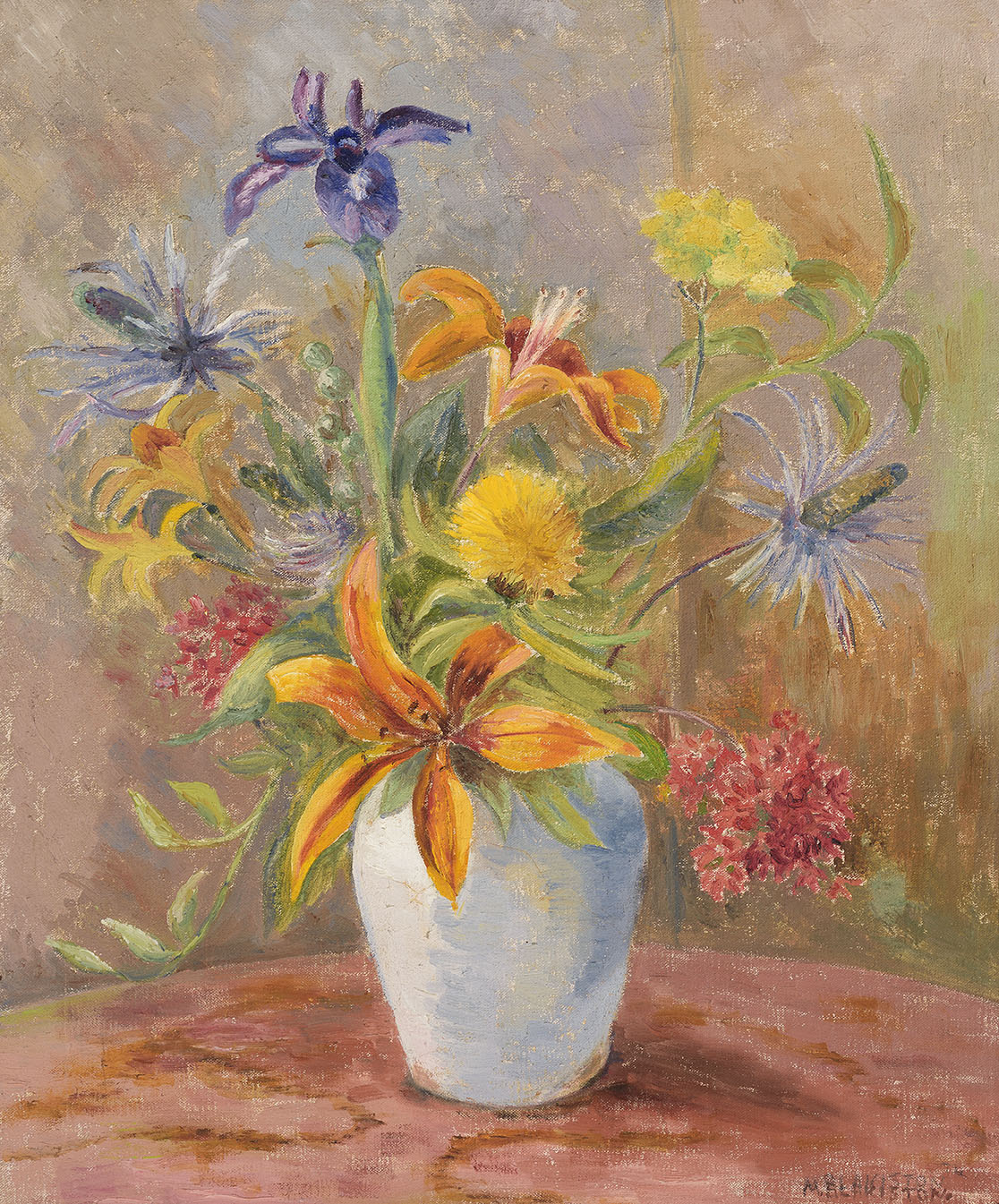 Mildred Florence Blakiston (1891-1985)    Orange Lily,  1974, Oil on canvas, 24 x 19 ½ in, Signed and dated  [CAS 31] Acquired in 1977