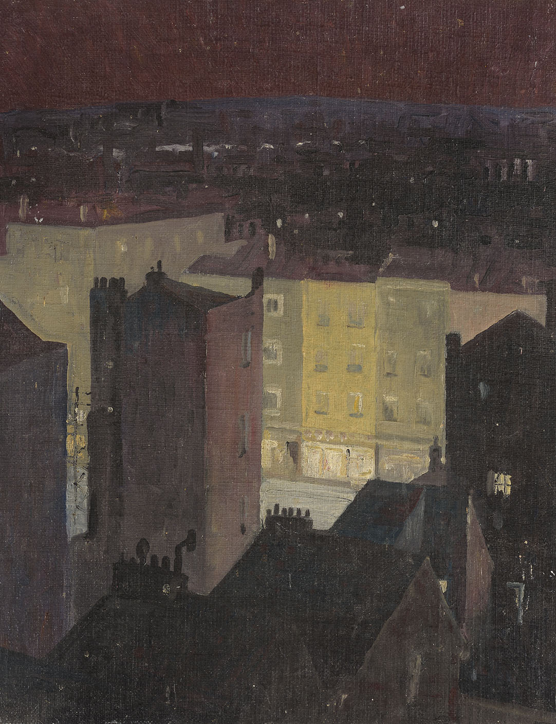 Malcolm H Carter (c.1920-1983)    Marylebone Nocturne,  c.1970, Oil on canvas laid on board, 20 x 16 in  [CAS 23] Acquired in 1973