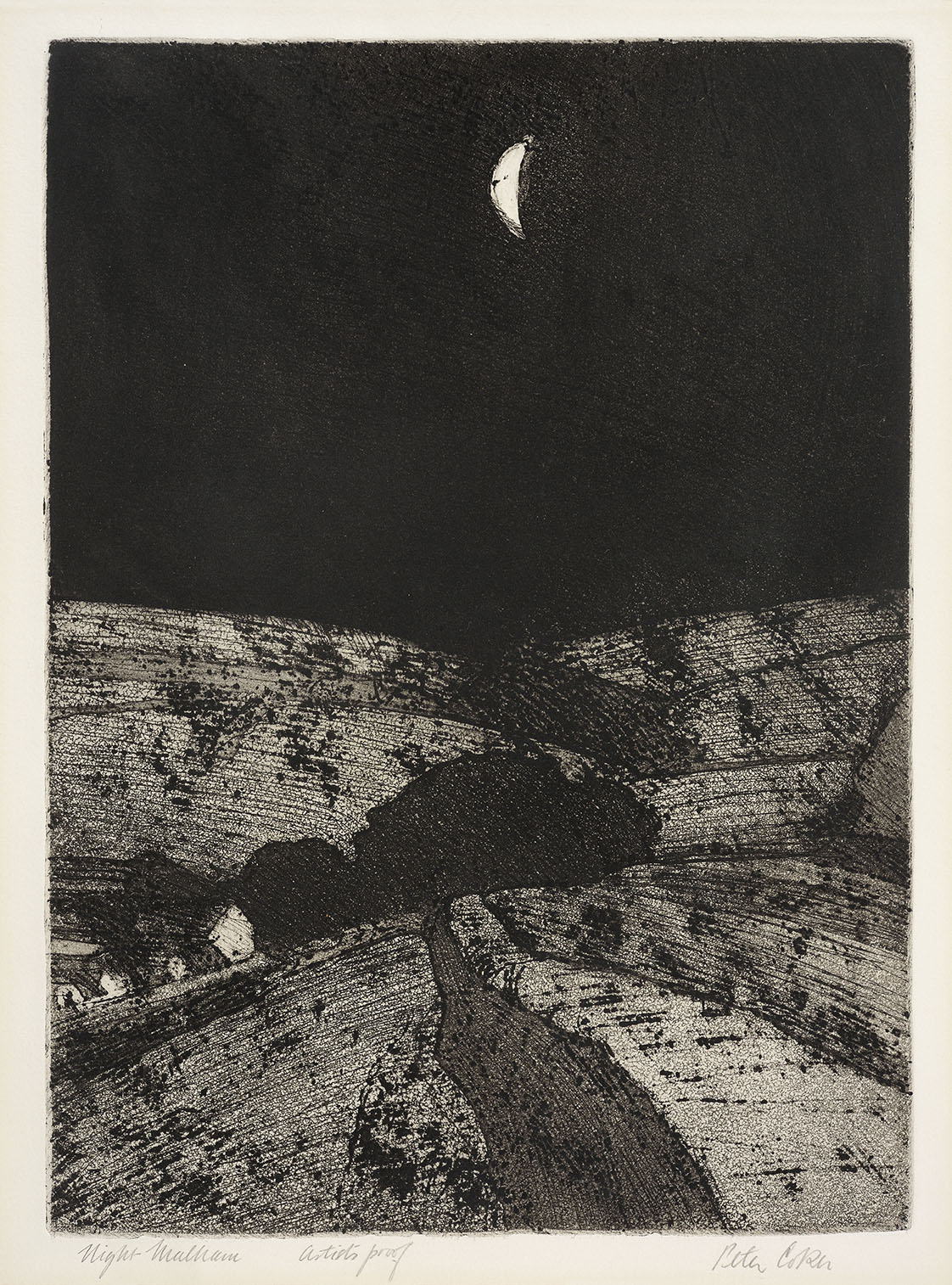 Peter Coker RA (1926-2004)  Malham, Night, 1971, Etching on paper, 14 ½ x 10 ½ in, Signed – AP  [CAS 26] Acquired in 1973
