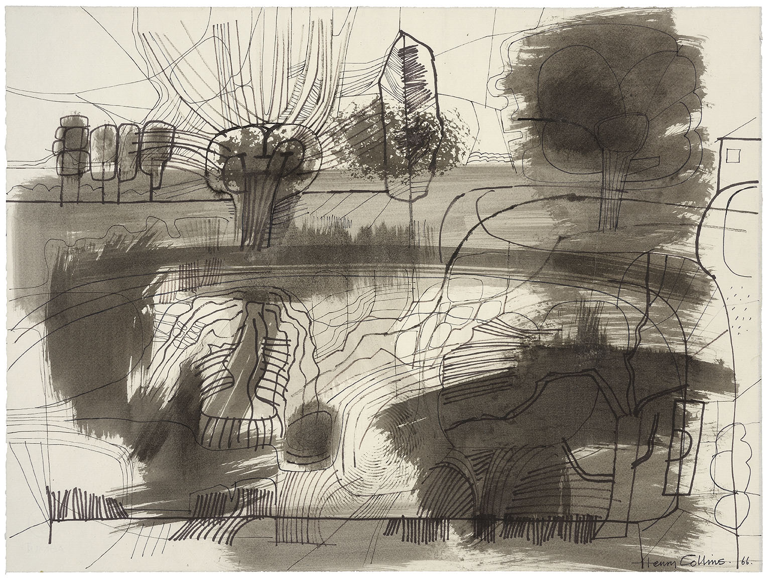 Henry Collins (1910-1994)    The Pond at Lexden,  1966, Pen, ink and wash on paper, 18 ¾ x 25 in, Signed and dated  [CAS 56]