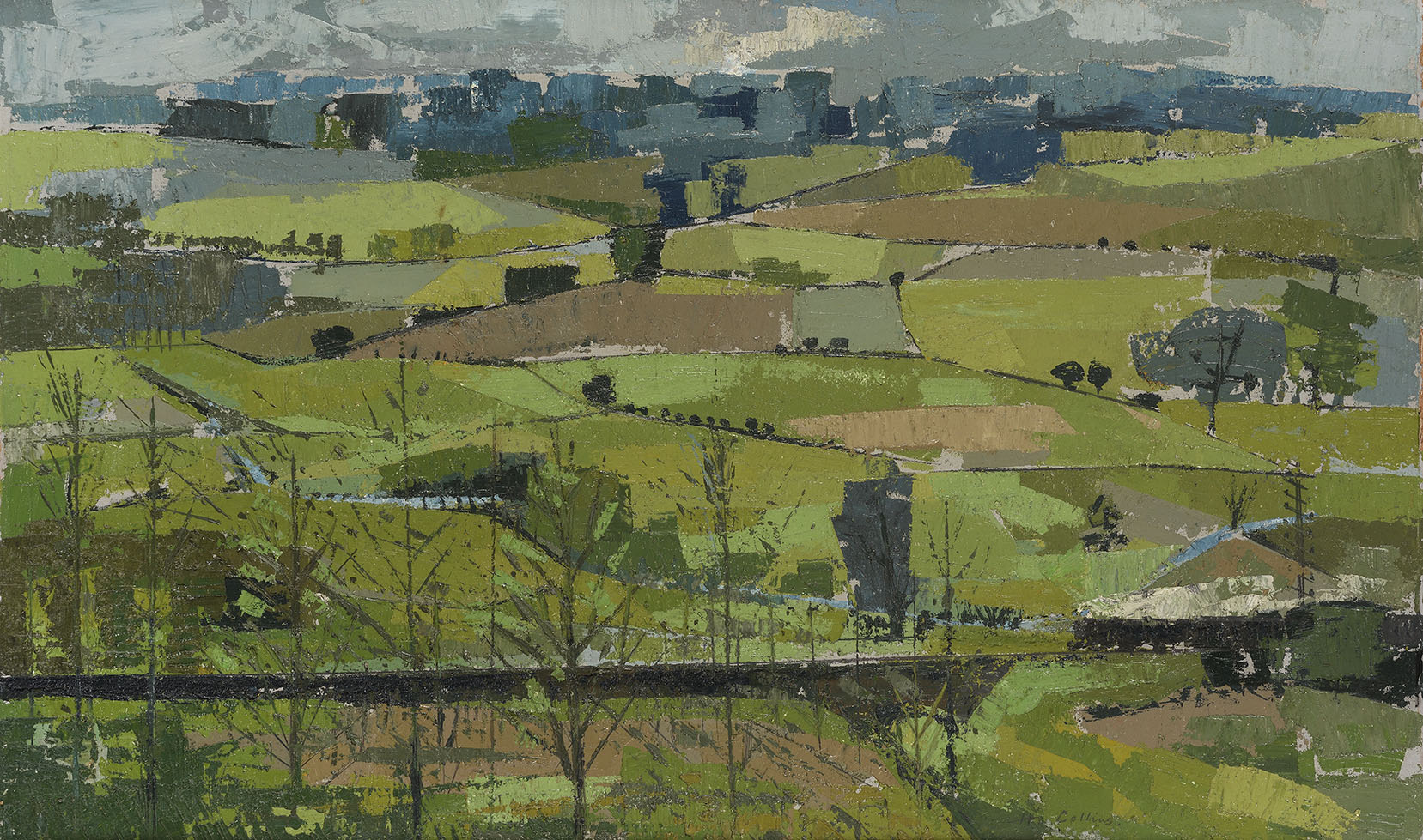Henry Collins (1910-1994)    Colne from West Bergholt,  Oil on canvas, 20 ½ x 34 in  [CAS 58]