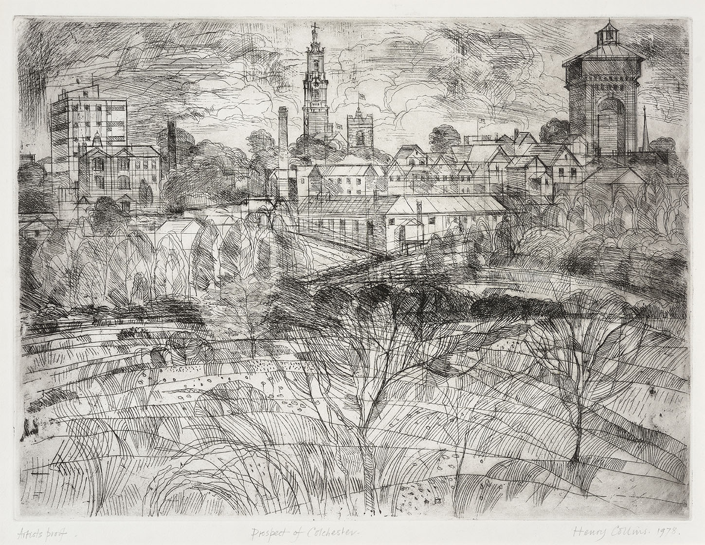Henry Collins (1910-1994)    Prospect of Colchester,  1978, Etching on paper, 14 ½ x 19 ½ in, Artist Proof, Signed and dated  [CAS 64] Gifted by Ian Hay in 2012