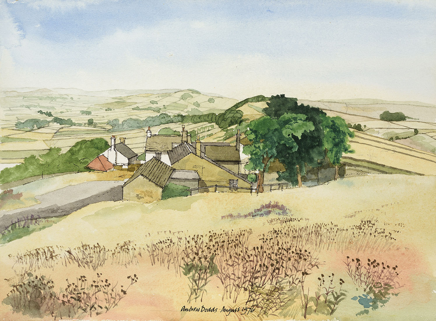 Andrew Dodds (1927-2004)    Peak District,  1976, Pen and watercolour on paper, 10 ¼ x 13 ¾ in, Signed and dated  [CAS 33] Acquired in 1977