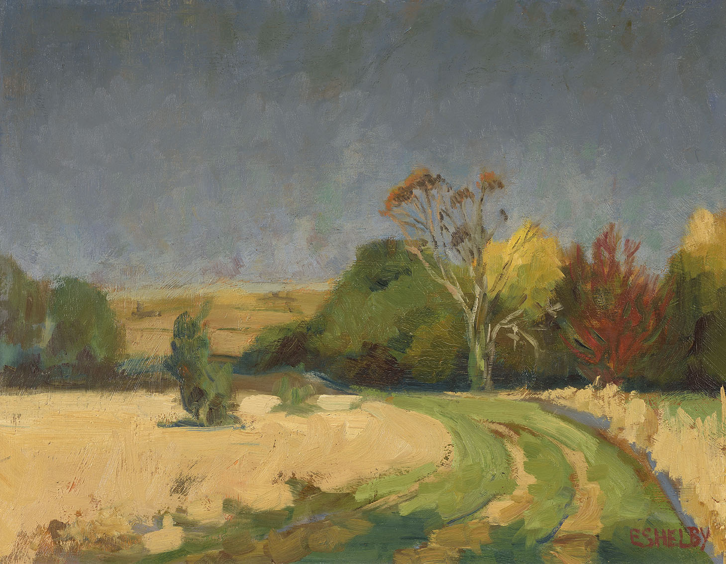 Sidney Eshelby    Harvest at Wormingford,  c.1982, Oil on board, 14 x 17 ¾ in, Signed  [CAS 42] Acquired in 1983