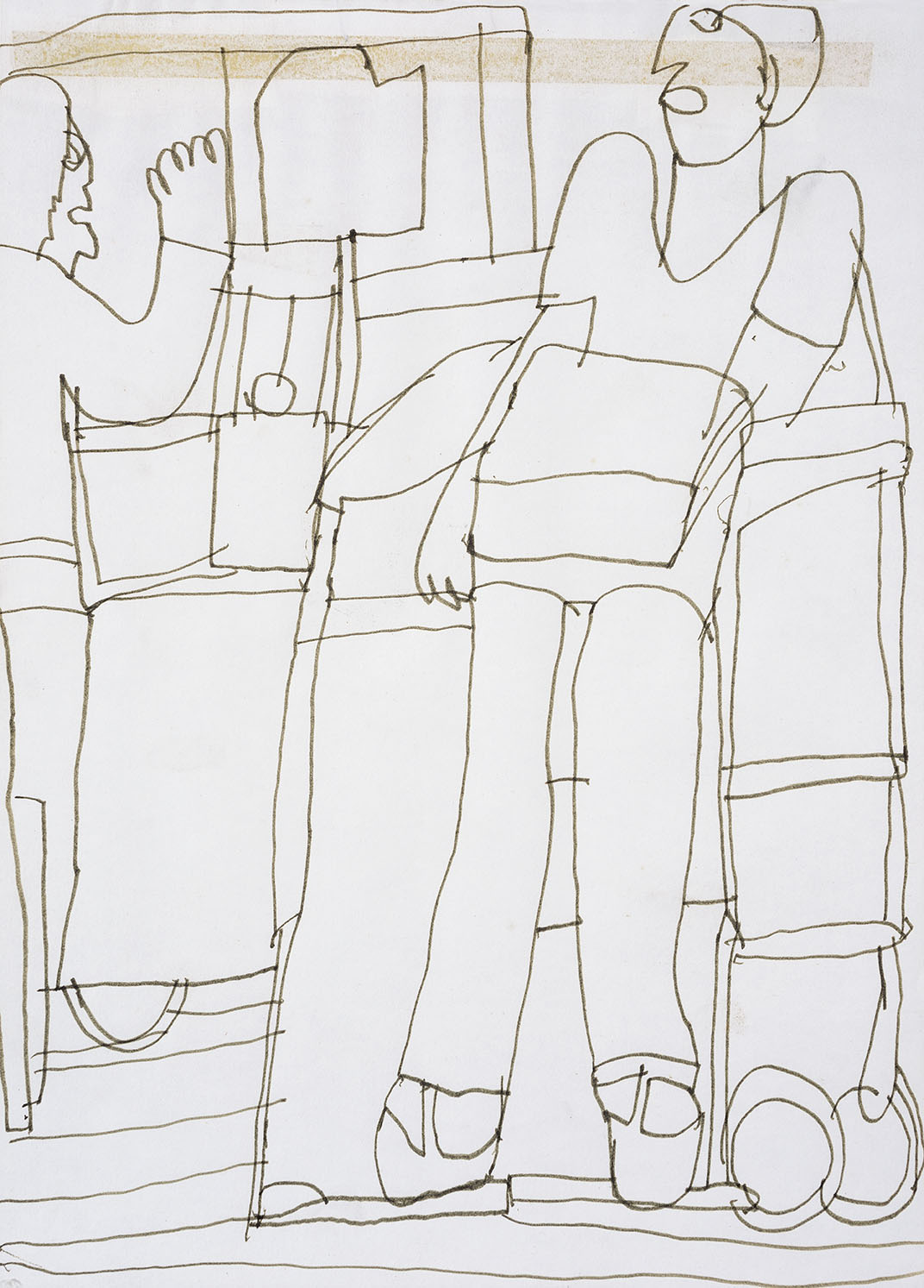 Gerald Fisher (d.1970s)    Two Residents,  c.1970, Pen and ink on paper, 14 x 10 in  [CAS 38] Donated by Mrs Harding in 1981