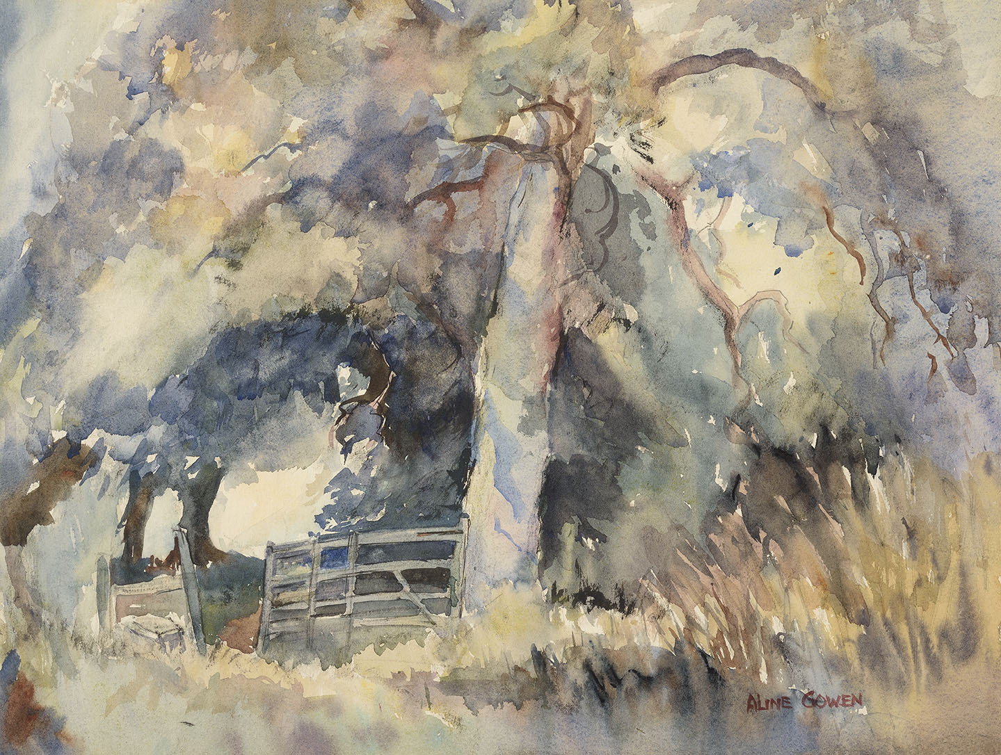 Aline Gowen (1907-1999)    Woodland Gate,  Watercolour on paper, 12 ½ x 16 ½ in, Signed  [CAS 53]