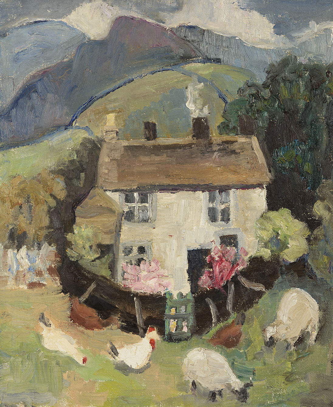 Lucy Harwood (1893-1972)    White Cottages with Knab Beyond,  Oil on canvas, 24 x 20 in  [CAS 39]