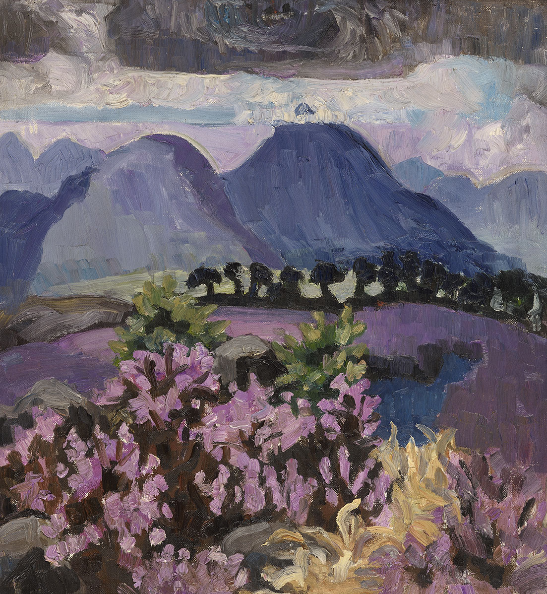 Lucy Harwood (1893-1972)    Landscape with Blue Mountain,  Oil on canvas, 24 x 22 in  [CAS 55]