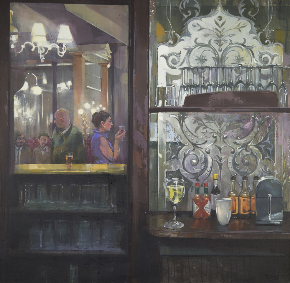 Bar-Back & Beyond, The Salisbury W1 , Oil on canvas, 76 x 76 cm