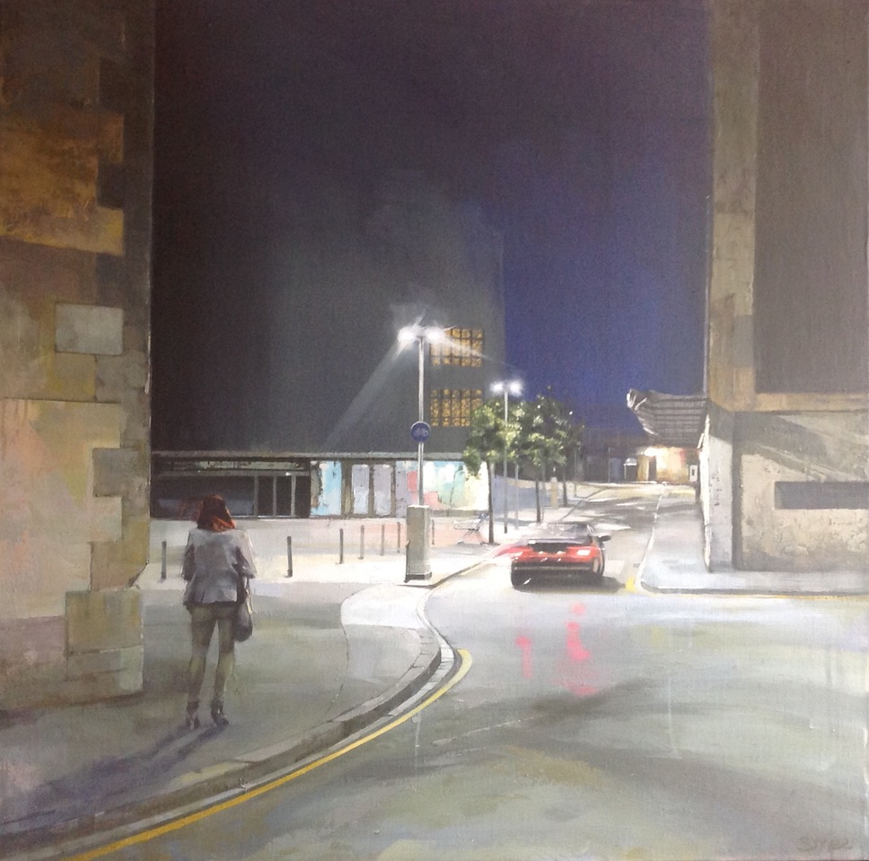 Night Moves, Barcelona , Oil on canvas, 97 x 97 cm