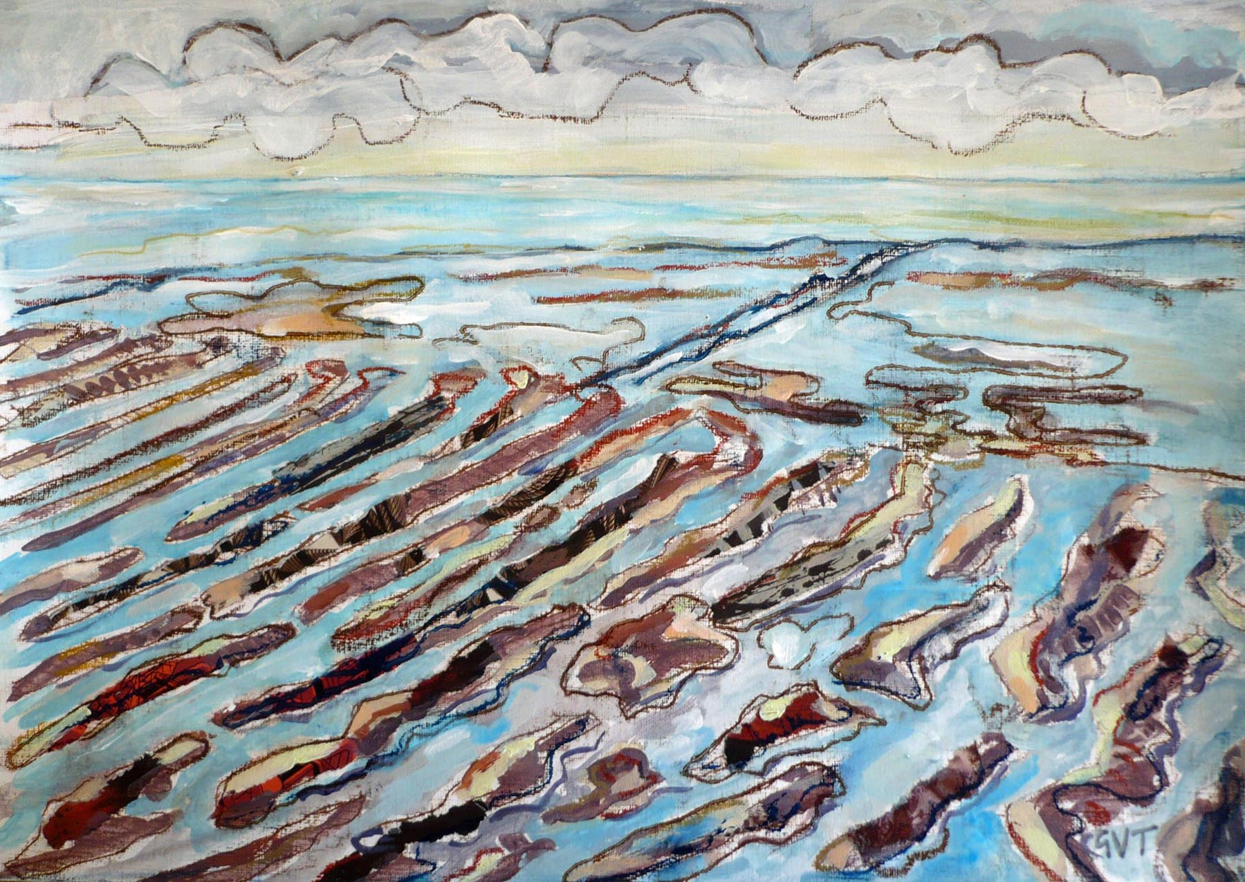 Essex Coast 1 , Mixed media on paper, 27 x 42 cm