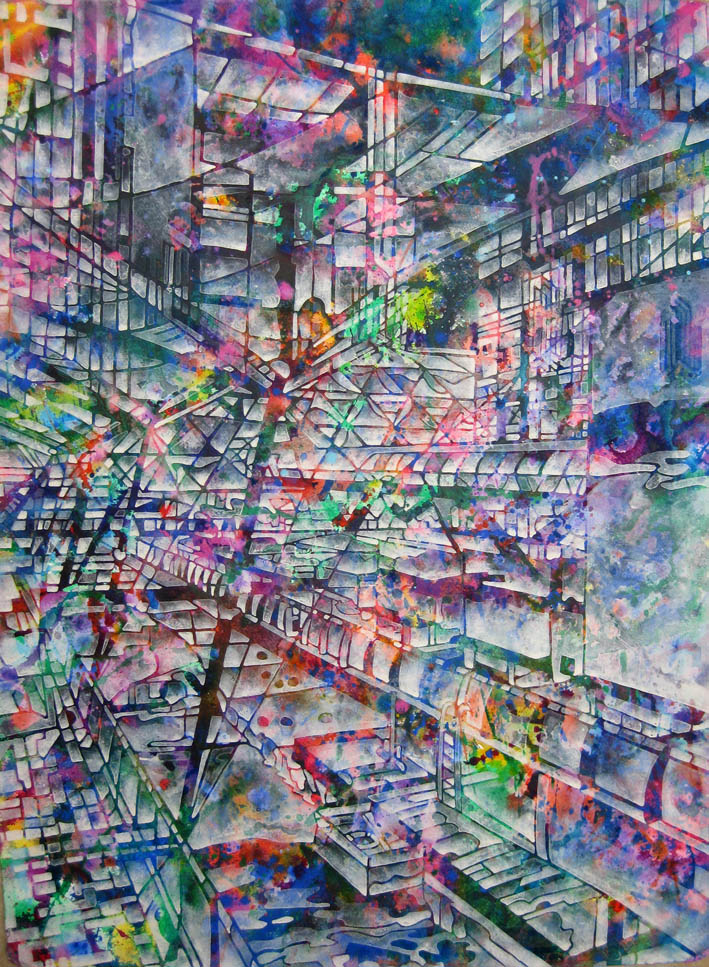 Crossrail and Canopy,  Acrylic and watercolour 50 x 70 cm
